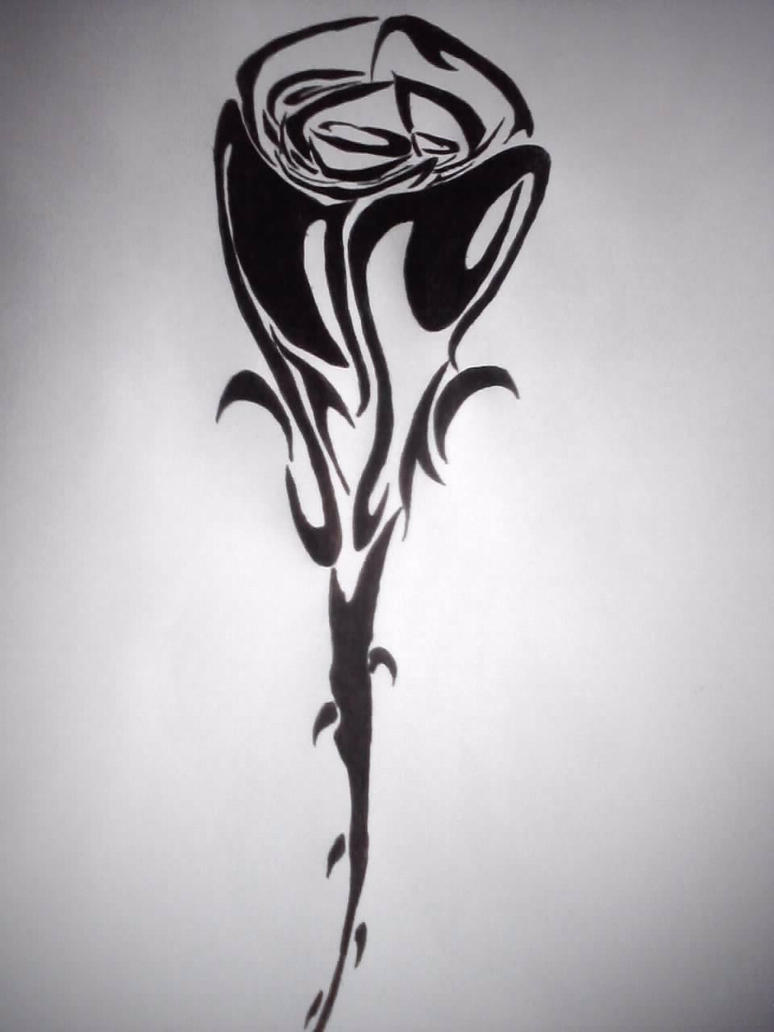 Tribal Rose Tattoo Design by GothicBlackStar