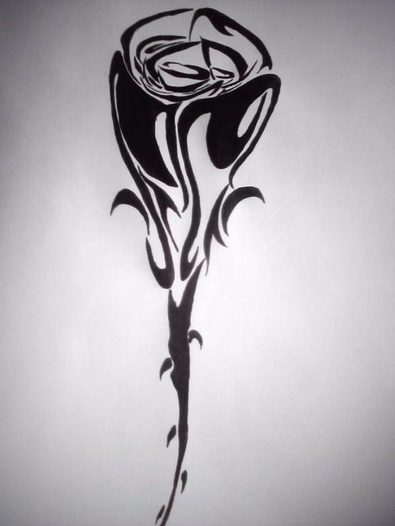 Tribal Rose Tattoo Design by GothicBlackStar