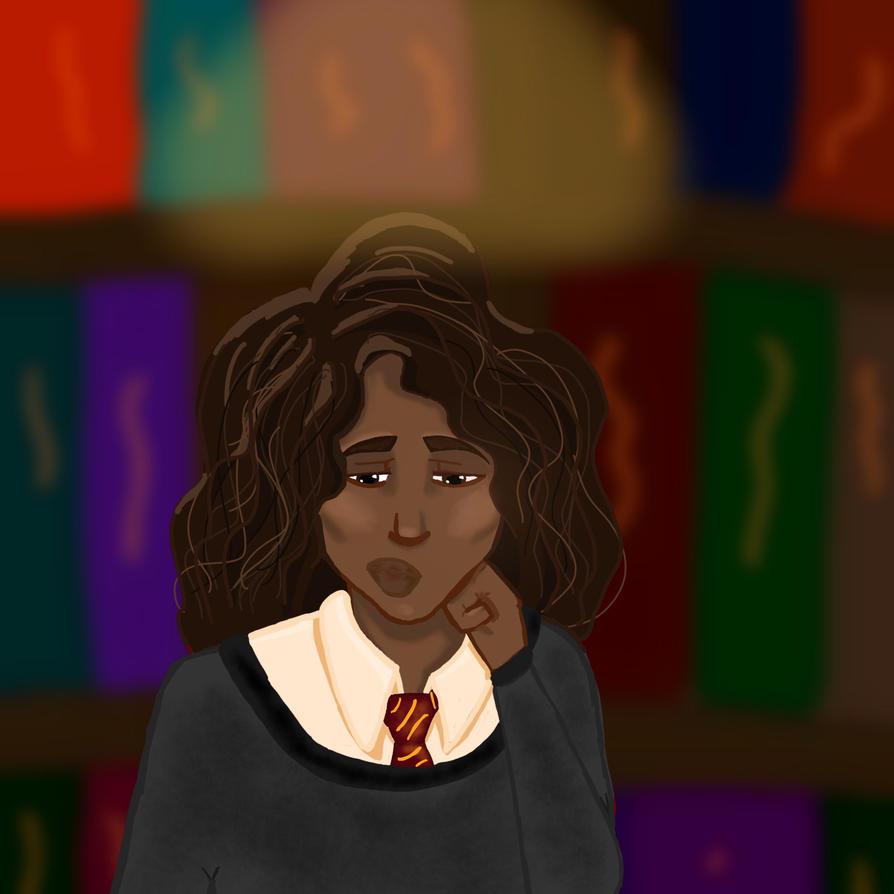 Hermione in the library by Reedy11