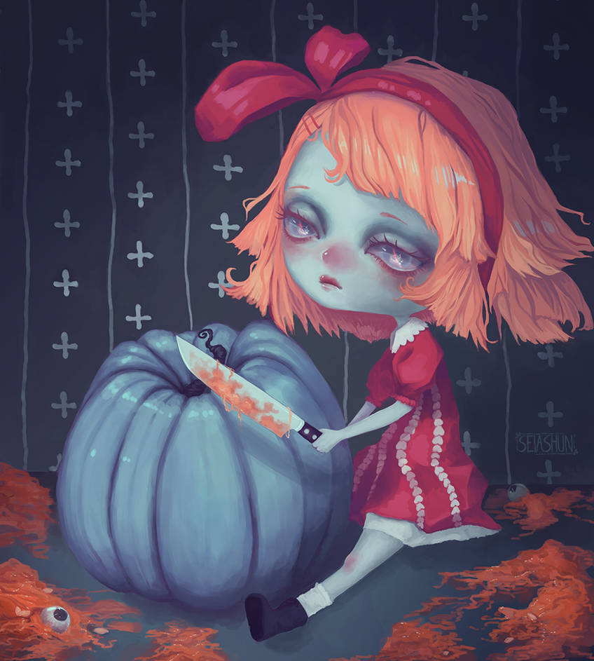 Drawtober - Pumpkin Glutton by Seiashun