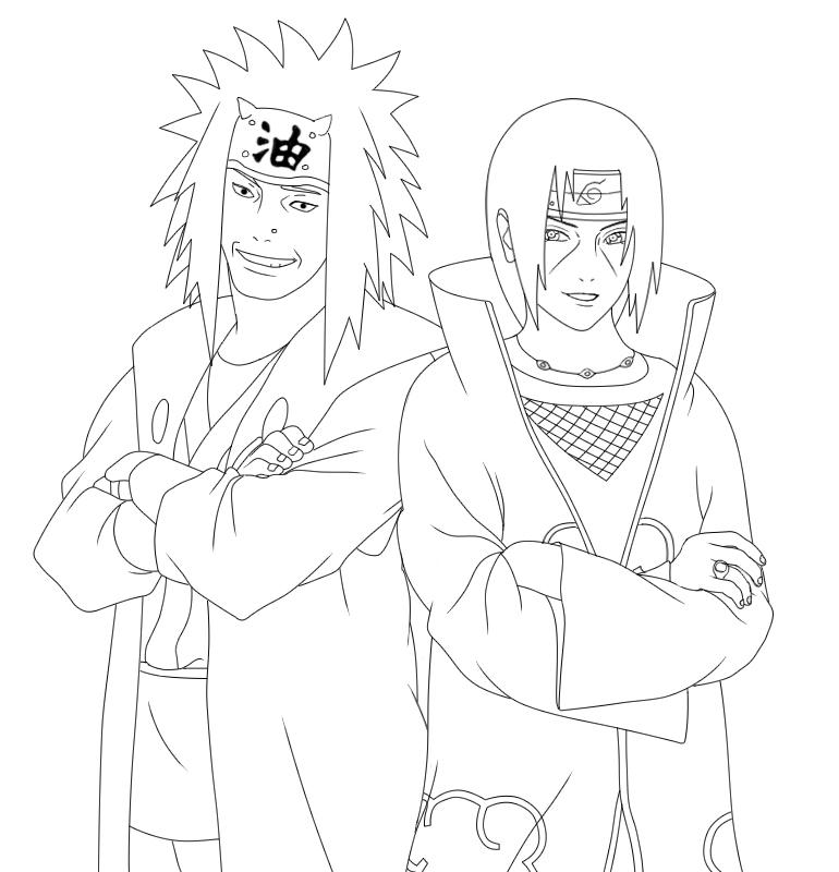 Smiling itachi jiraiya lineart by ryouto on deviantart for Jiraiya coloring pages
