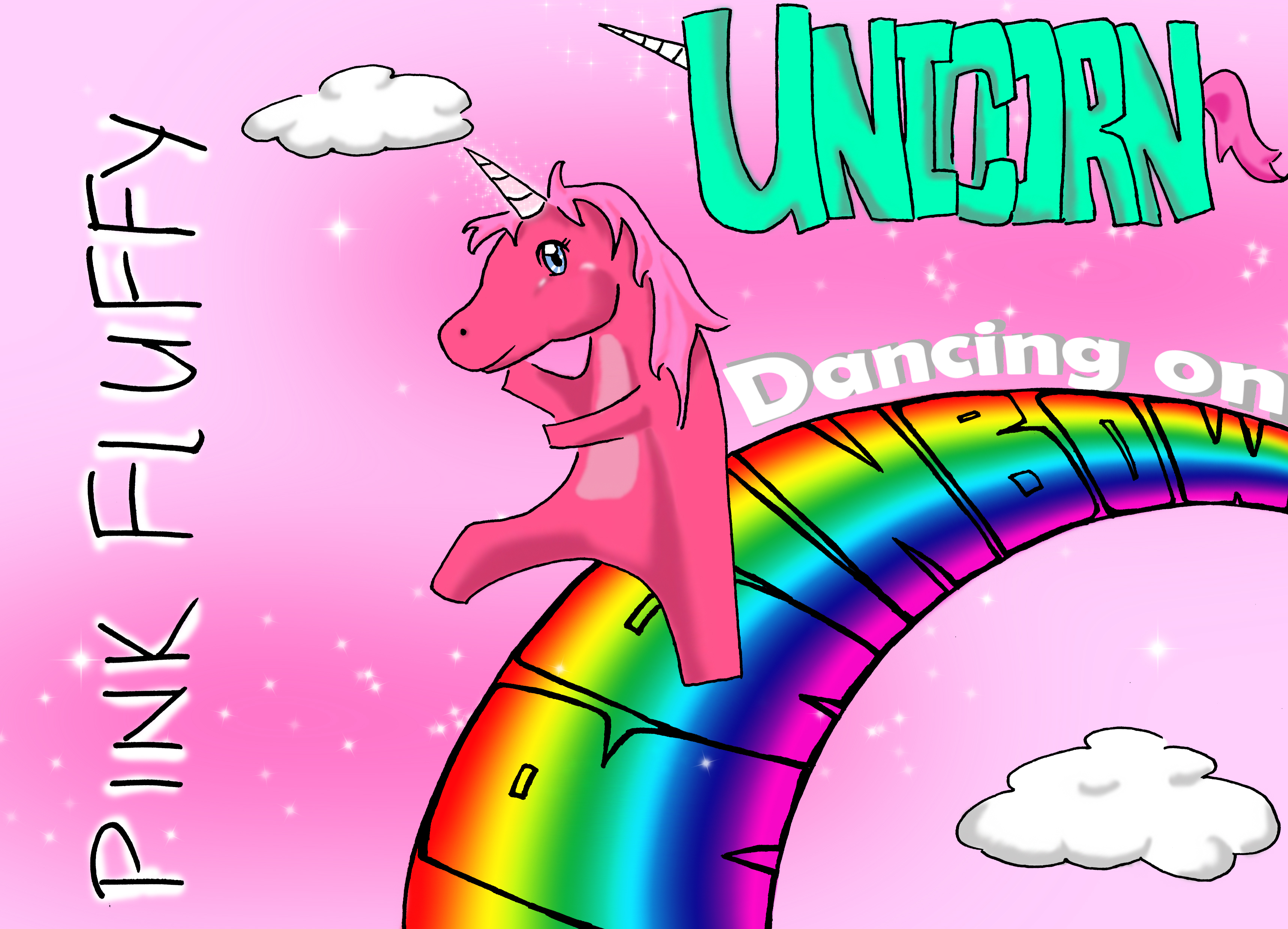 Pink Fluffy Unicorns Dancing On Rainbows by sinjid2525 - Meme Center