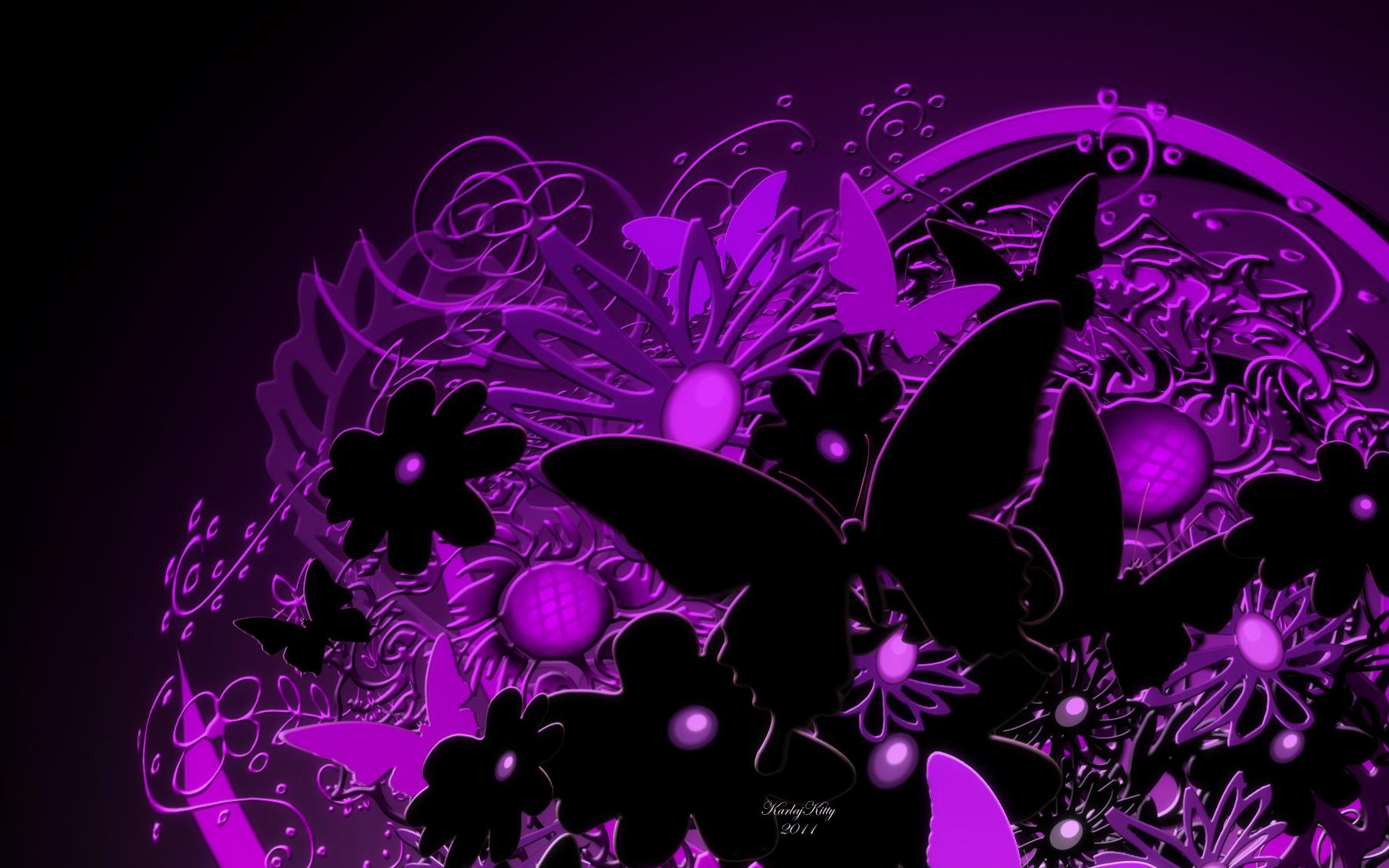 Butterfly bouquet by karlajkitty on deviantart for Purple wallpaper 3d