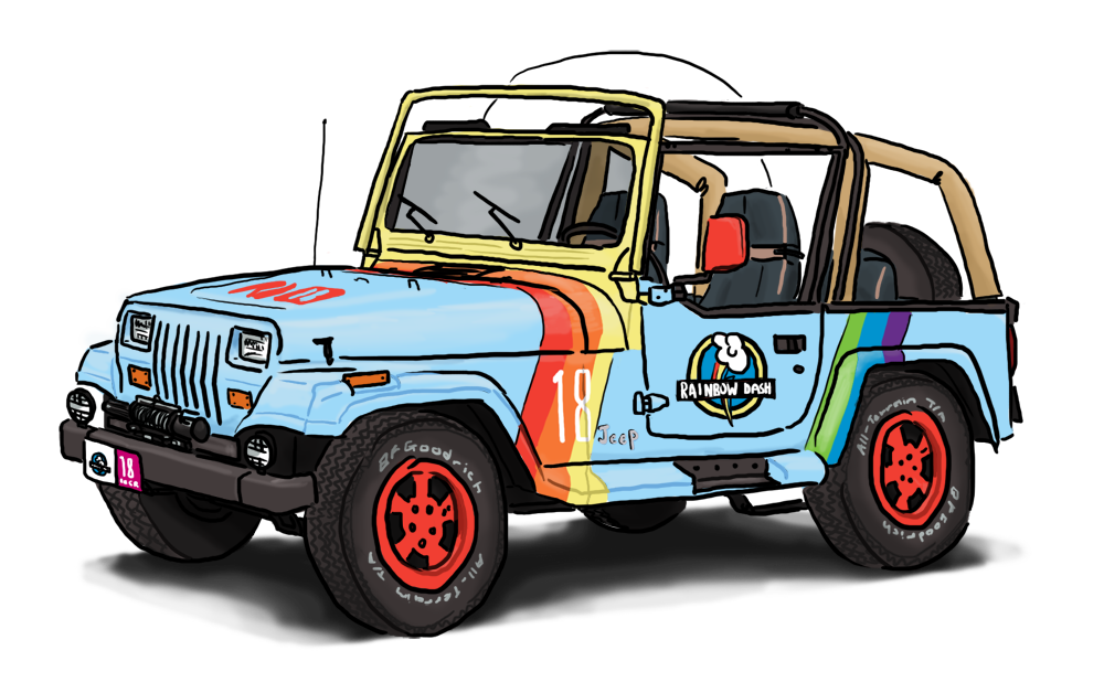 Jurassic Park Jeep With Rainbow Dash Livery By King