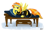 Spitfire with a black stola on a daybed