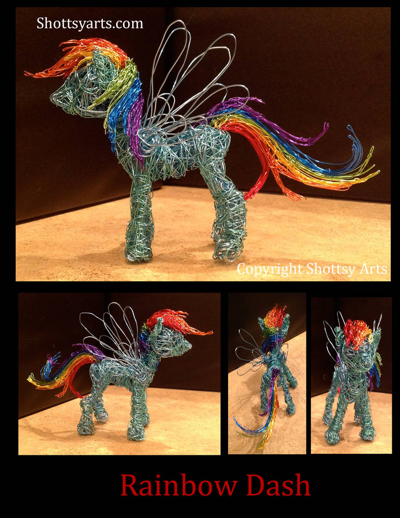 Rainbow Dash wire sculpture