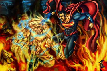 Goku vs. Superman Commission by phil-cho