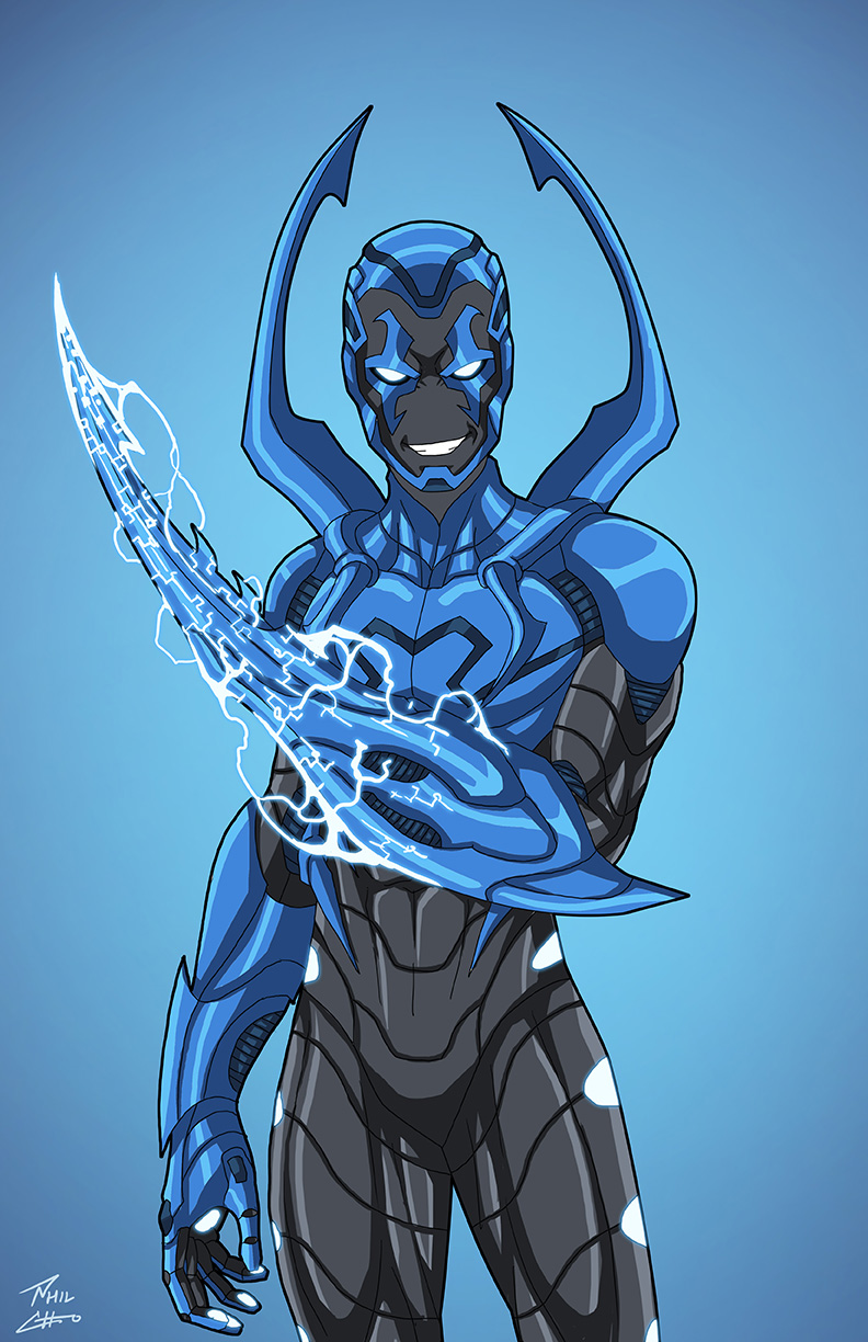Silver scarab earth 27 blue beetle color variant by phil for Blue beetle coloring pages