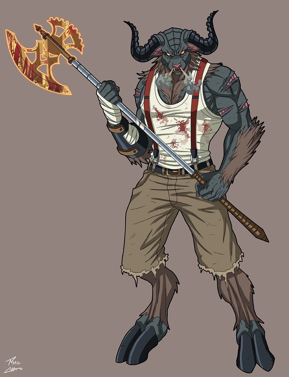 Deviantart Character Design Commission : Minotaur neolympus commission by phil cho on deviantart