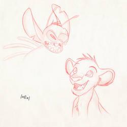 Sketch - Simba and Stitch by EduardoGAP