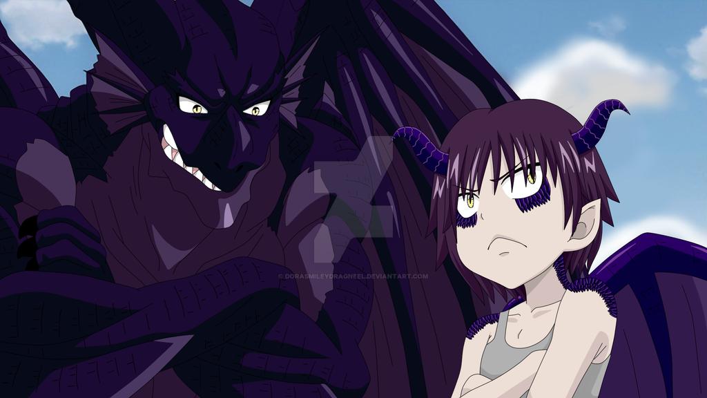 The Dragon and his half dragon Son by DoraSmileyDragneel