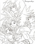 +Cloud, Aerith, Riku, Sora+