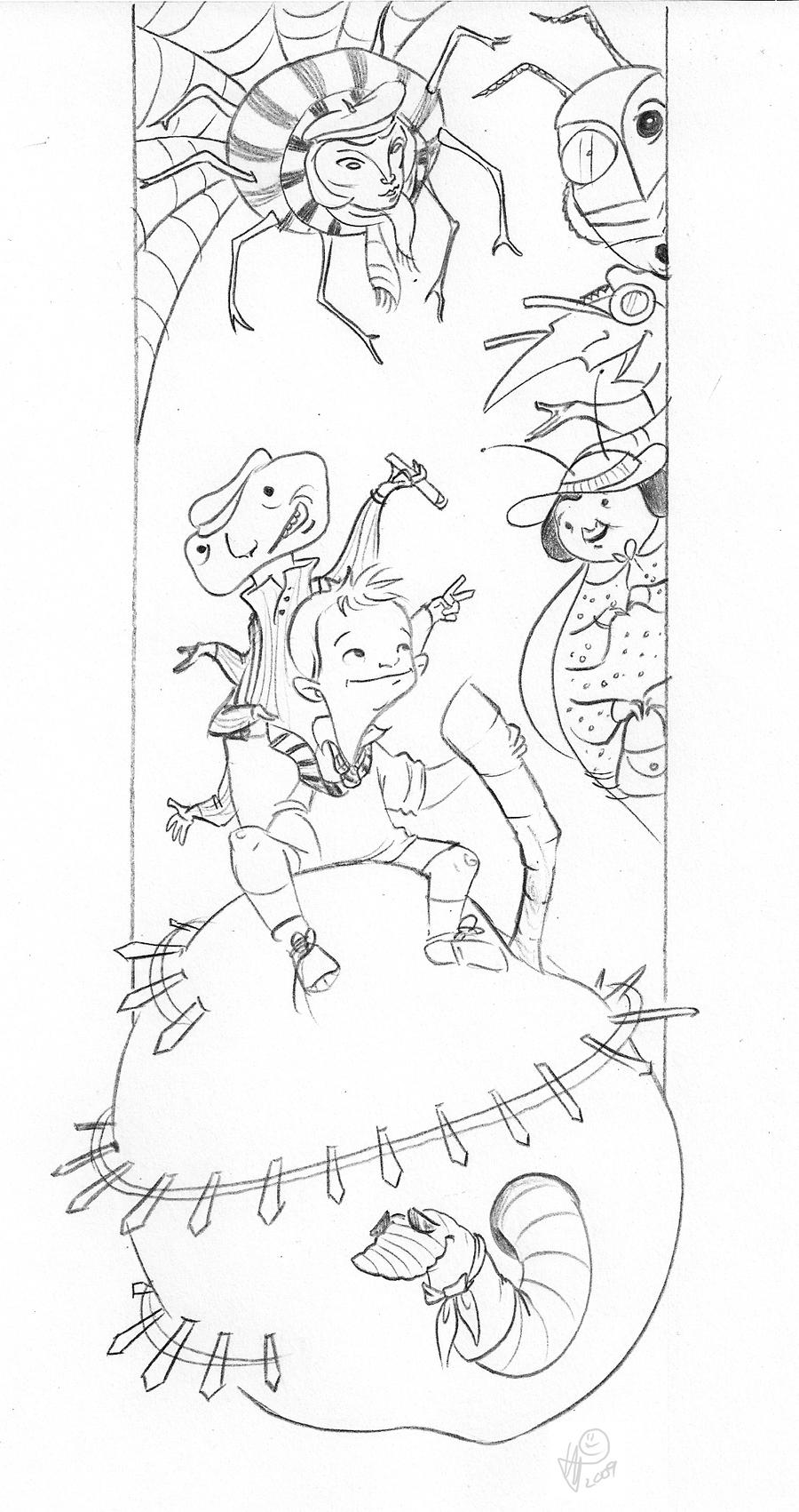 James and the giant peach by lelpel on deviantart for James coloring pages