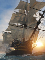 HMS Victory in action