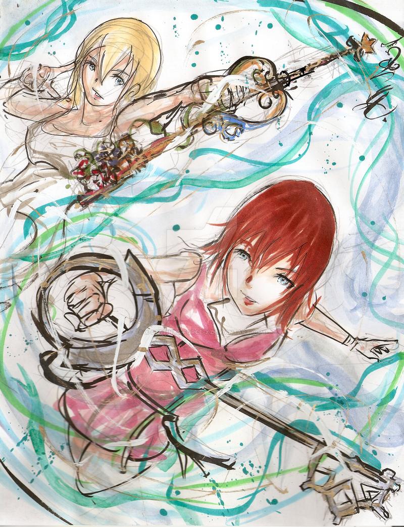 Commish: Kairi and Namine: Keyblade Wielders by x-Destinys-Force-x