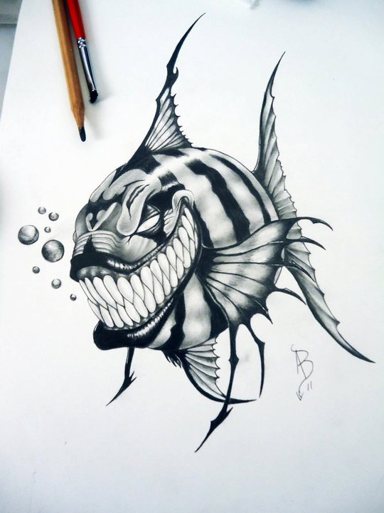 Piranha skeleton tattoo - photo#5