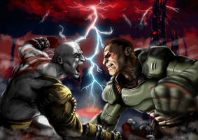Kratos vs Doom Slayer by ArdathLilitu