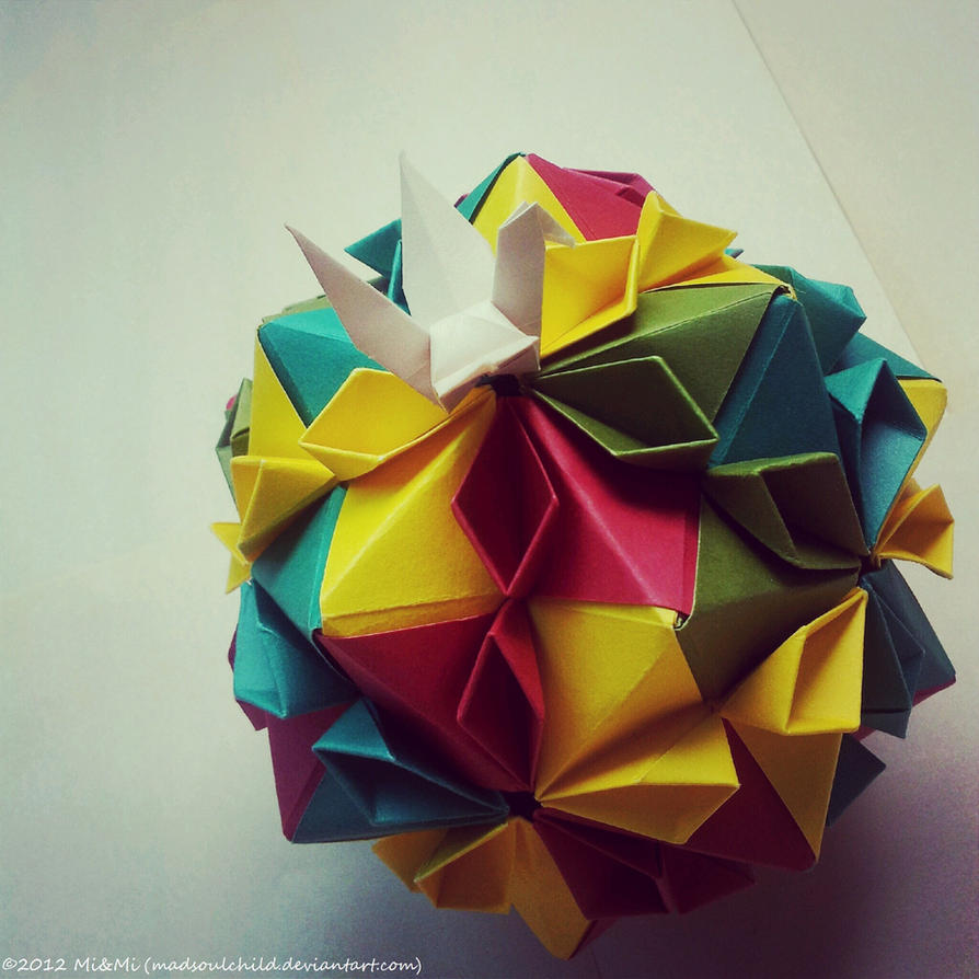 Modular Origami (Cherry Blossom Ball) 1 by MadSoulChild