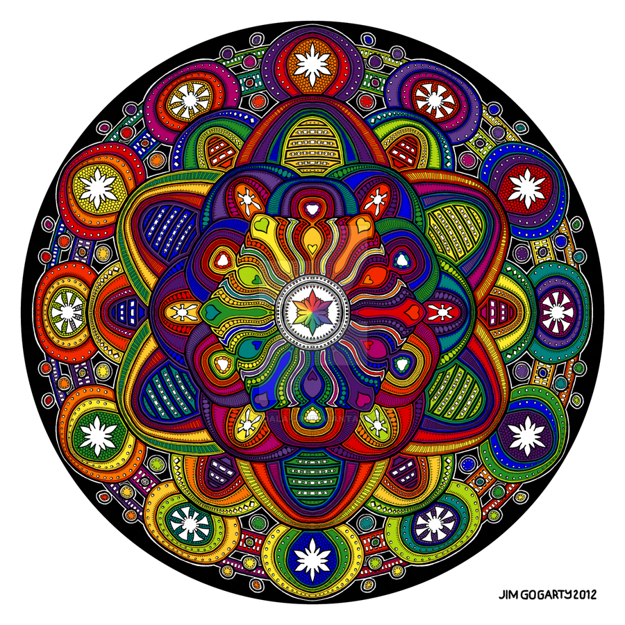 The mandala coloring book jim gogarty - Mandala 42 Rainbow Coloured By Mandala Jim