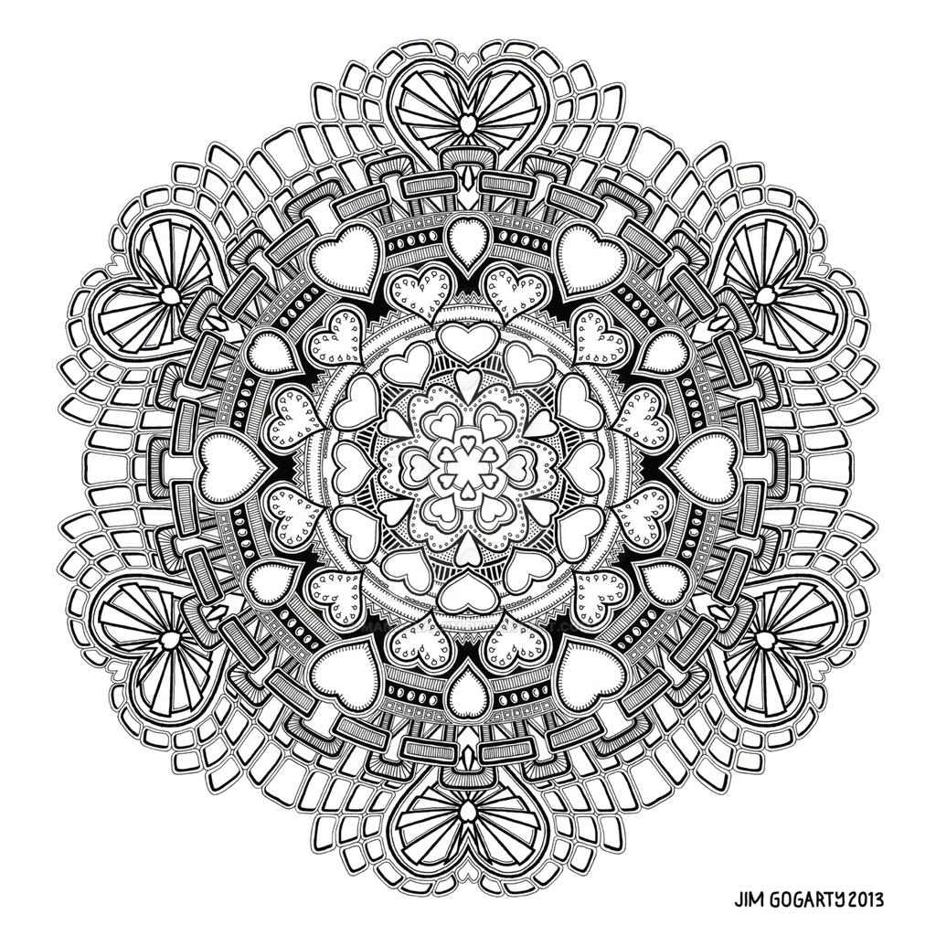 The mandala coloring book jim gogarty -  Valentine Mandala 58 By Mandala Jim