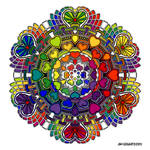 Valentine Mandala drawing 58 Rainbow Coloured