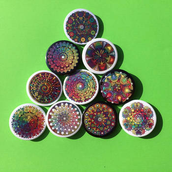 Mandala Badges Buttons Pins by Mandala-Jim