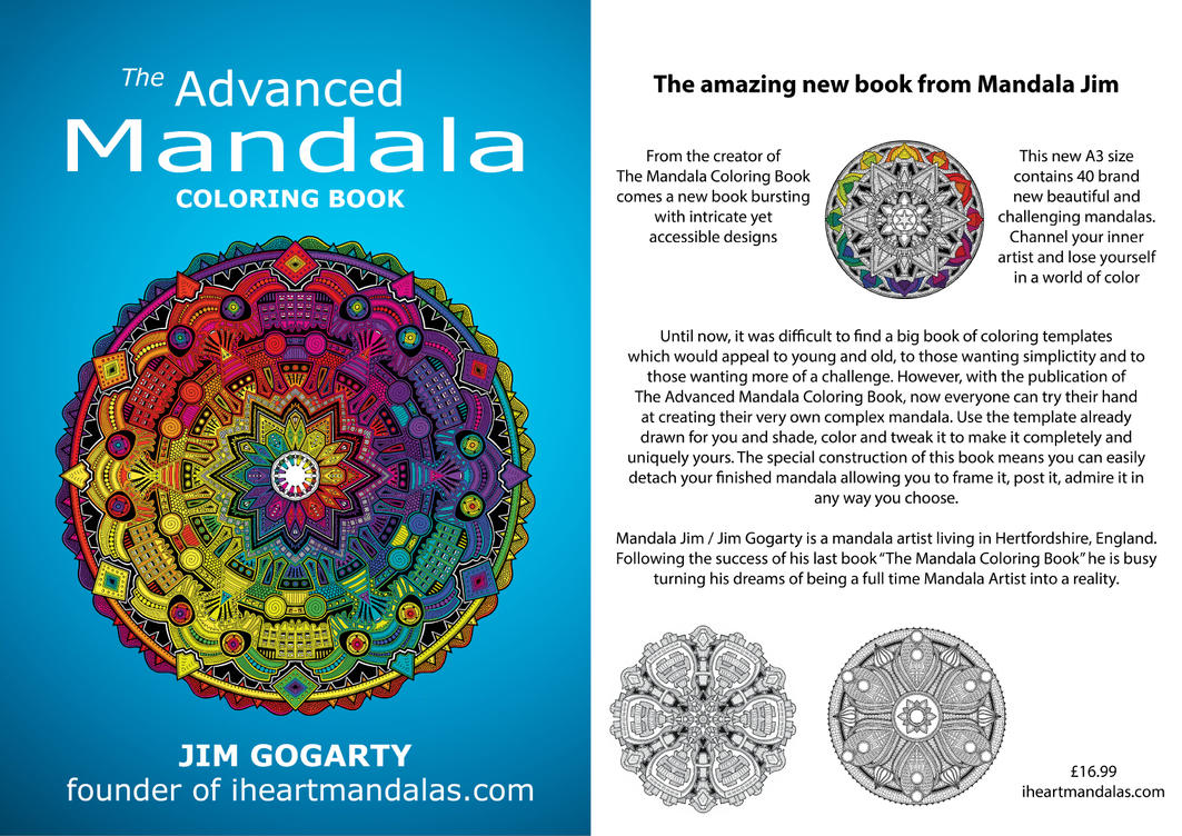 Front and Back cover from Advanced Colouring Book by Mandala-Jim