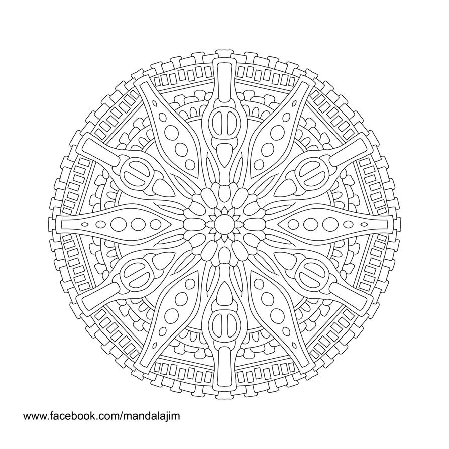 Free Mandala Line Art Day 3 of 10 by Mandala-Jim by Mandala-Jim