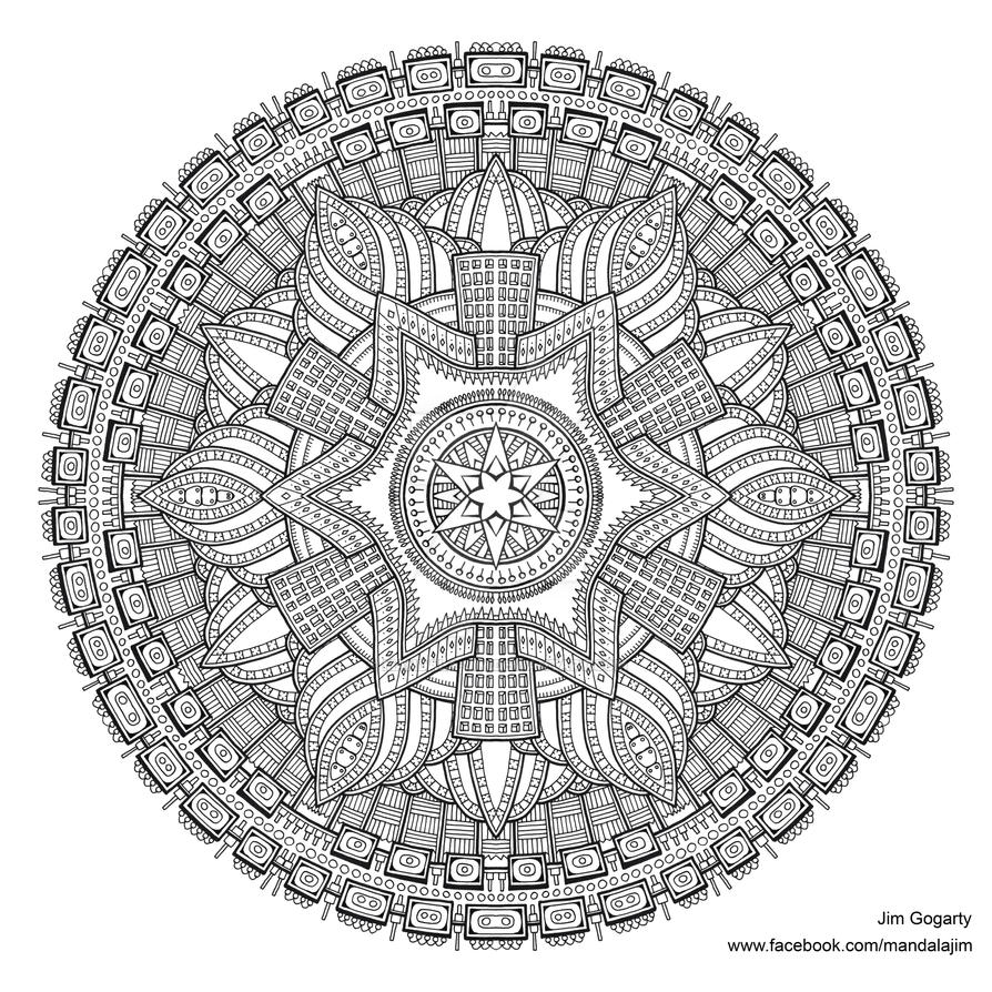 Preview Of Advanced Mandala A3 Coloring Book 2 By Mandala Jim On