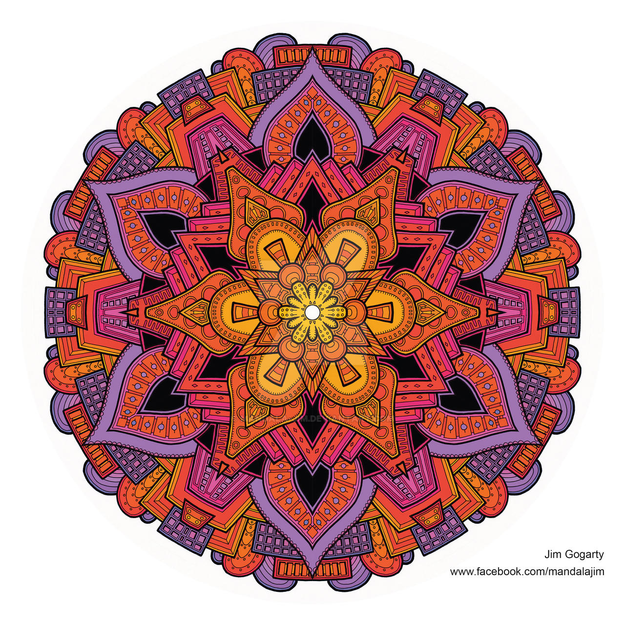 The mandala coloring book jim gogarty - Mandala Jim 141 89 Latest Hand Drawn Mandala Coloured Digitally By Mandala Jim