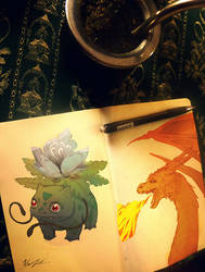 pokesketches  Bulbasaur and Charizard by yonax