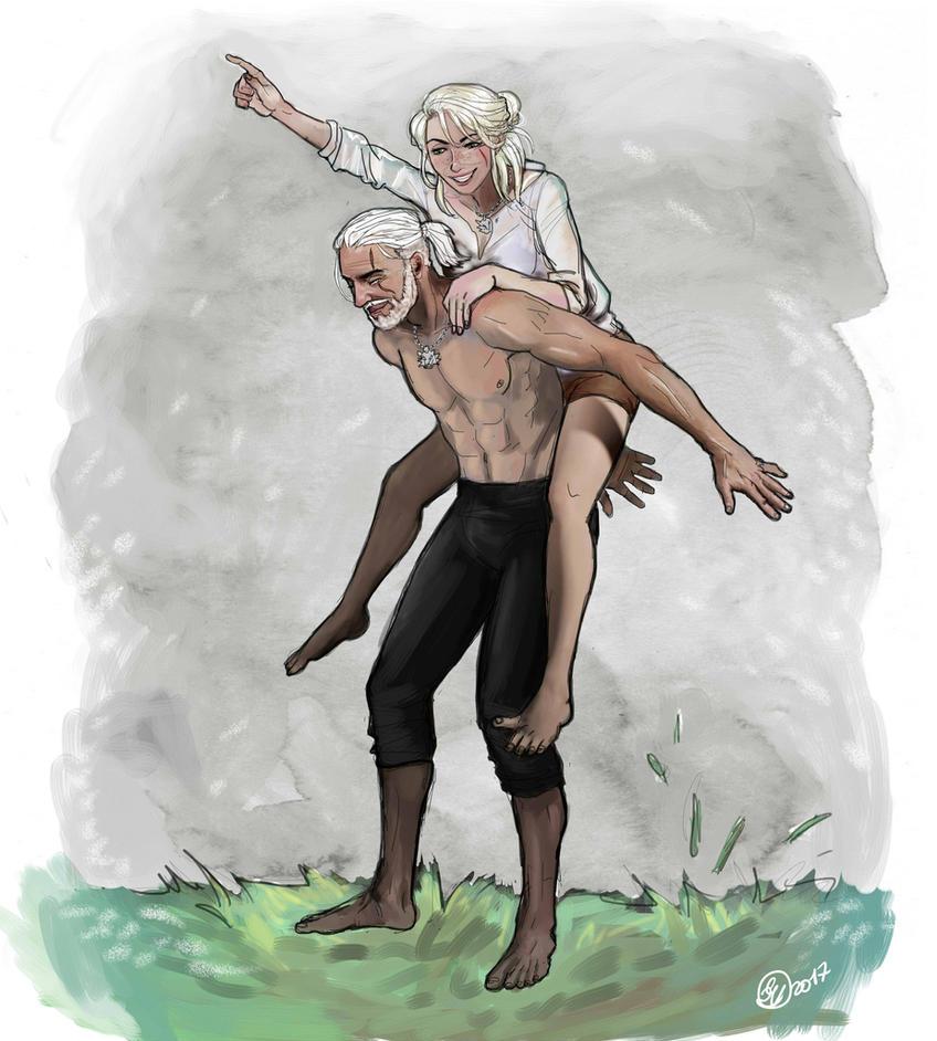 Geralt and Ciri by ViennaOrlando