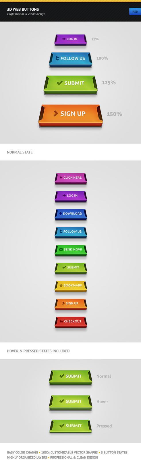 3D Web Buttons by erigongraphics