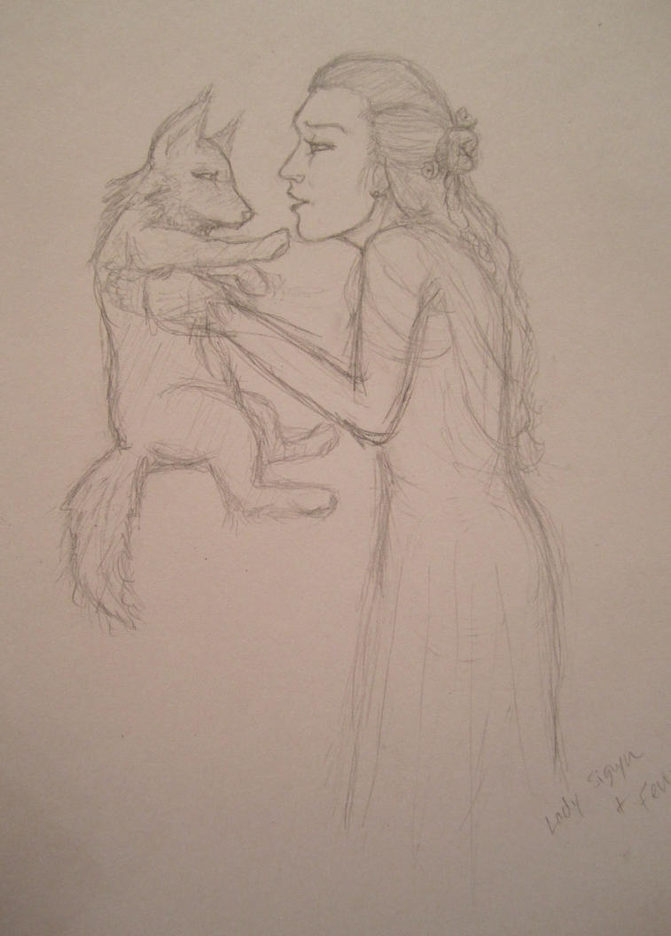 Sigyn and Fenrir by Pinkorpse