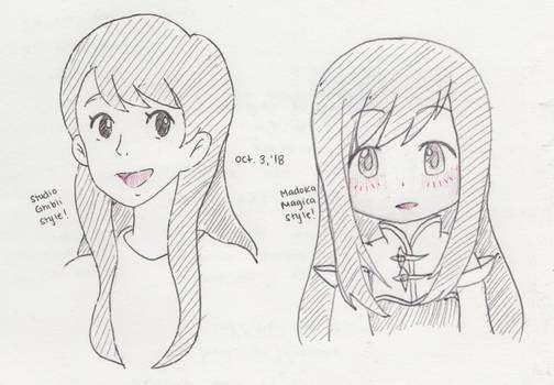 Inktober - Studio Ghibli + Madoka Magica - Day 3