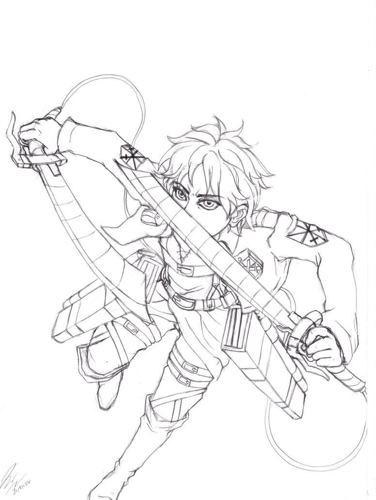 Eren attack on titan by doomaday on deviantart for Attack on titan coloring pages