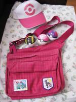 Pokemon Hilda Cosplay Bag, Pokeballs and Hat SOLD by DarkSaberCat
