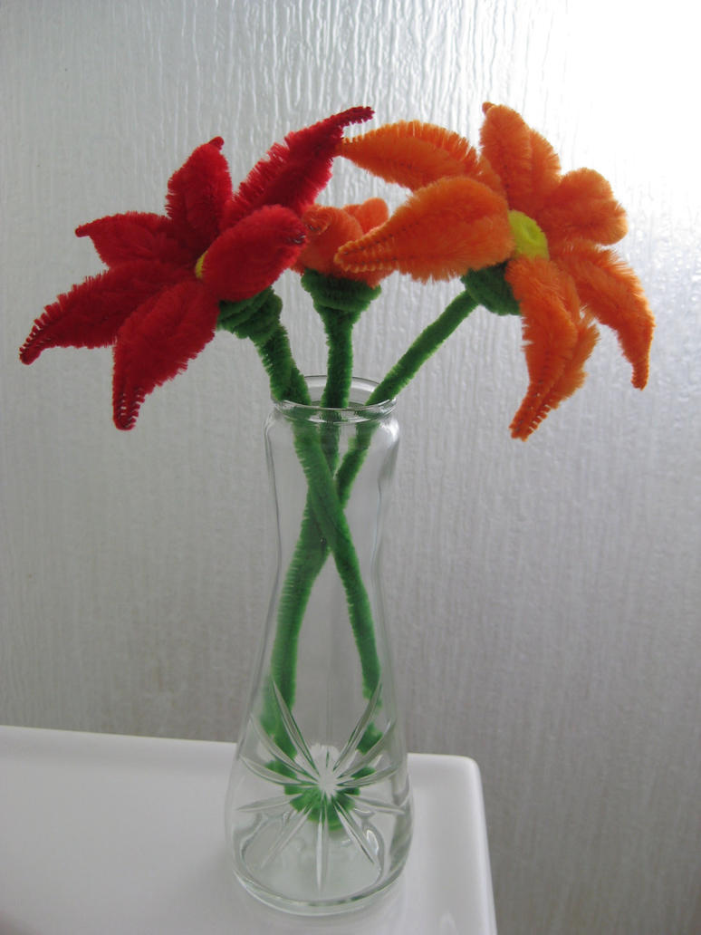 Pipe cleaners arts and crafts - Pipe Cleaner Flowers With Vase By Darksabercat