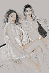 Priya and Preeti Tonal Drawing by compiler25