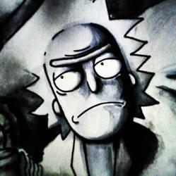 Rick Sanchez (Rick and Morty) copics+watercolor by antartics