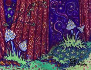 Mushroom Forest Drawing