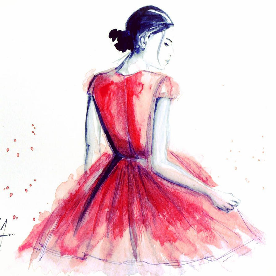 Blue Watercolor Dress Painting