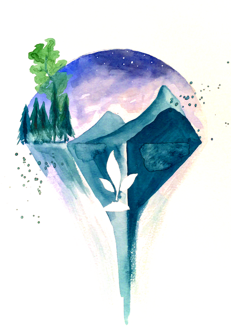 Tiny Bubble Landscape #1 by SteveHeggenAquarelle