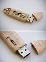 16GB Mechanical Key - Rippled Maple by back2root