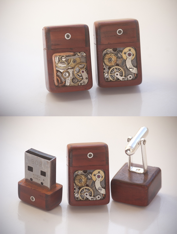 8GB USB Cufflinks - Paduak by back2root