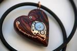 32GB USB Heart Necklace - Cocobolo