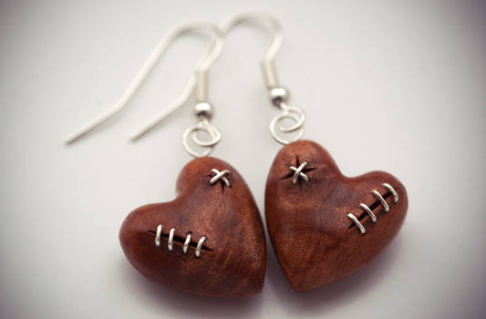 Stitched Heart Earrings