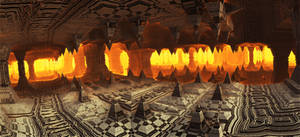 A rain of fire inside the ancient cave