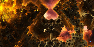 city behind the nebula