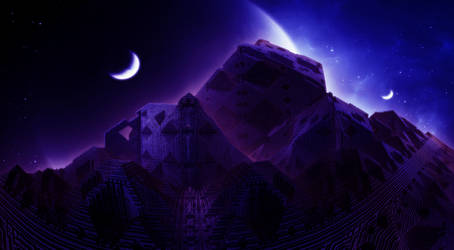 Pyramid another planet - night